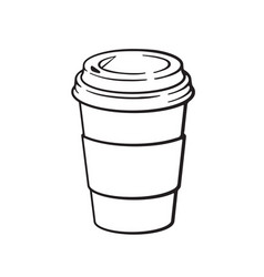 doodle disposable paper cup with coffee or tea vector image
