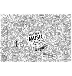 doodles cartoon set music objects vector image