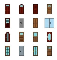 Door icons set flat style vector image