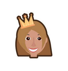 drawing head girl with crown celebration party vector image vector image