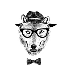 Dressed up wolf vector
