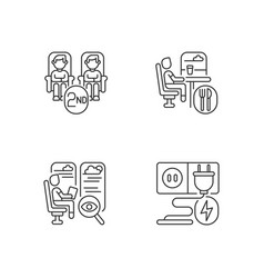 economy class train services linear icons set vector image