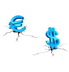 Euro and dollar signs down vector image