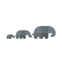 Family of elephants kept each other in flat vector