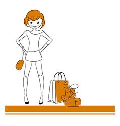 Fashion girl with sale bag vector