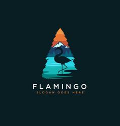 Flamingo and lake landscape logo vector