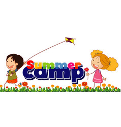 Font design for word summer camp with kids in the vector