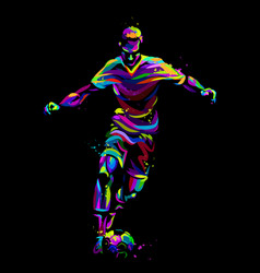 Footballer with ball abstract multi-colored vector