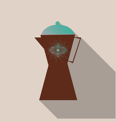French press coffee maker flat material design vector