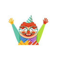 Funny circus clown in traditional makeup and vector