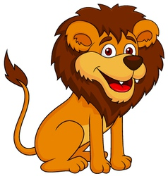 Funny lion cartoon sitting vector image
