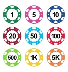 Gambling casino poker chips color set vector
