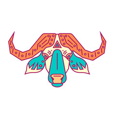 geometric head of bull simple forms vector image
