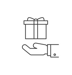 Gift box on hand line icon vector