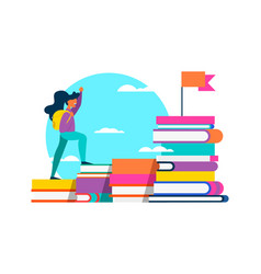 Girl climbing school book for success concept vector