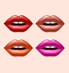 Girl lips with varicolored lipstick set vector image