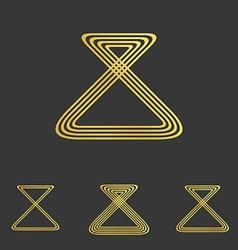 Golden line loop logo design set vector