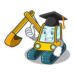 Graduation excavator character cartoon style vector
