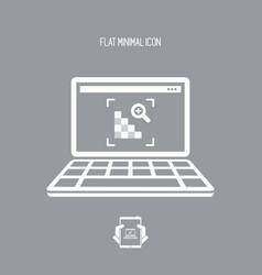 Grainy image on laptop - flat minimal icon vector