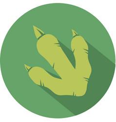 Green dinosaur footprint circle flat design icon vector