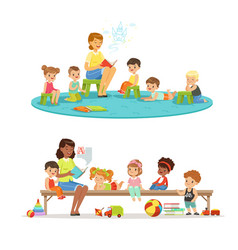 Group of preschool kids and teacher teacher vector