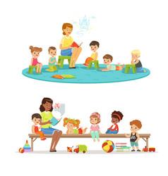 Group preschool kids and teacher teacher vector