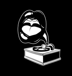 hand drawn gramophone with human mouth tattoo vector image