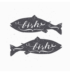 Hand drawn salmon fish hipster silhouette vector