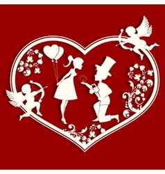 Heart design with couple vector image