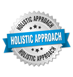 holistic approach round isolated silver badge vector image