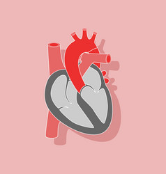 Human heart paper sticker on stylish background vector