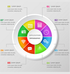 Infographic design template with application icons vector