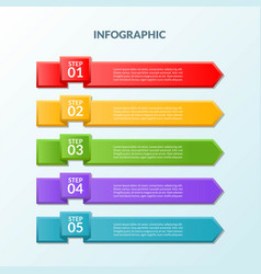 infographic template of flag 5 steps or workflow vector image