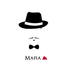 Italian mafioso face on white background vector