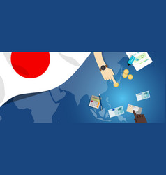 Japan fiscal money trade concept of vector