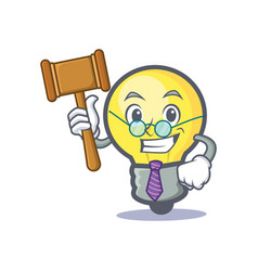 Judge light bulb character cartoon vector