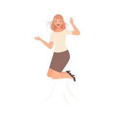 Jumping girl with happiness vector