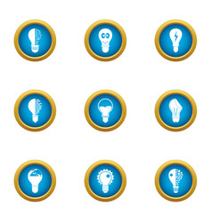 Lamp of the past icons set flat style vector
