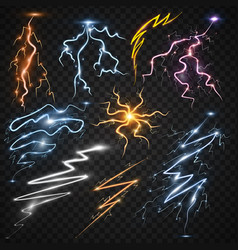 Lightning bolt storm strike realistic 3d light vector