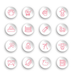 linear baby care icons set on white stickers vector image