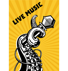 Live music octopus tentacles with microphone vector
