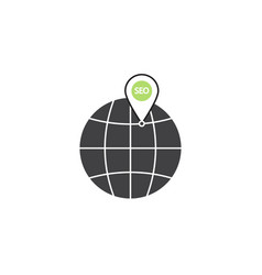 Local seo symbol globe with linear colorful vector