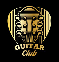 Logo template plectrum and guitar vector