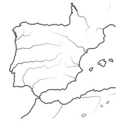 Map the spanish lands spain portugal vector