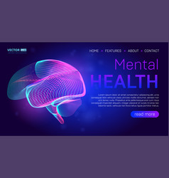mental health landing page background concept or vector image