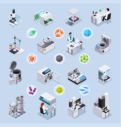 Microbiology isometric set vector