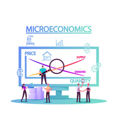 Microeconomics tiny characters local business vector