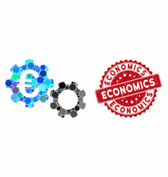 Mosaic euro mechanics with grunge economics seal vector