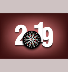 New year numbers 2019 and dartboard vector