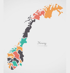 norway map with states and modern round shapes vector image